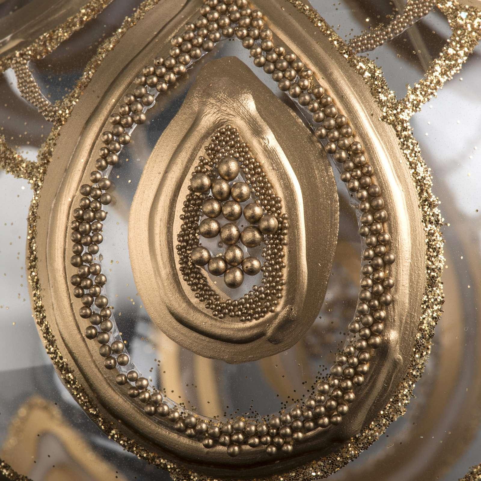 Addobbo albero Natale vetro soffiato trasparente oro 10 cm 4