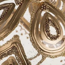 Addobbo albero Natale vetro soffiato trasparente oro 10 cm s2