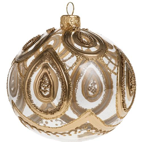 Addobbo albero Natale vetro soffiato trasparente oro 10 cm 1