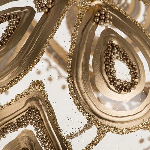 Addobbo albero Natale vetro soffiato trasparente oro 10 cm 2