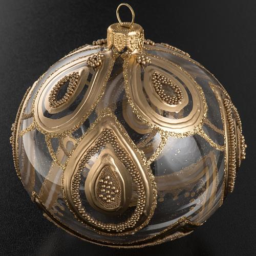 Addobbo albero Natale vetro soffiato trasparente oro 10 cm 3