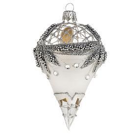 Addobbo albero goccia vetro decori argento strass s1