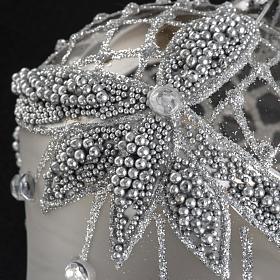 Addobbo albero goccia vetro decori argento strass s3