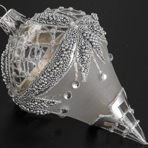 Addobbo albero goccia vetro decori argento strass 2
