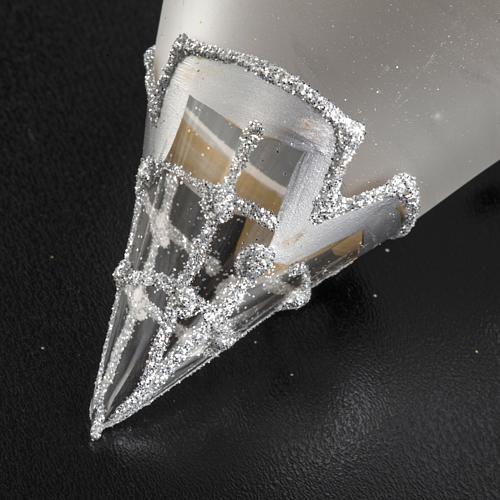 Addobbo albero goccia vetro decori argento strass 4