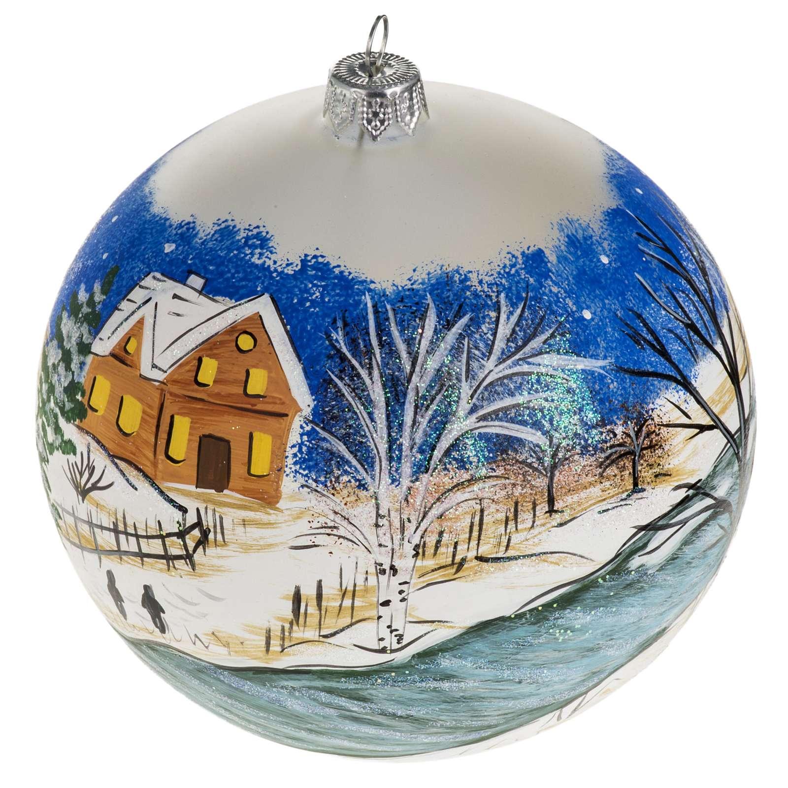 Addobbo albero Natale vetro dipinto a mano 12 cm 4