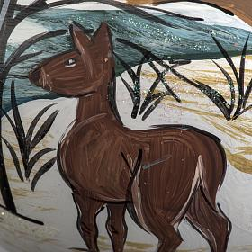 Addobbo albero Natale vetro dipinto a mano 12 cm s4