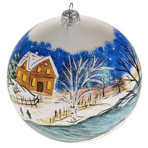 Addobbo albero Natale vetro dipinto a mano 12 cm 1