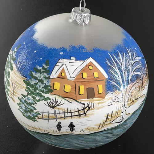 Addobbo albero Natale vetro dipinto a mano 12 cm 2