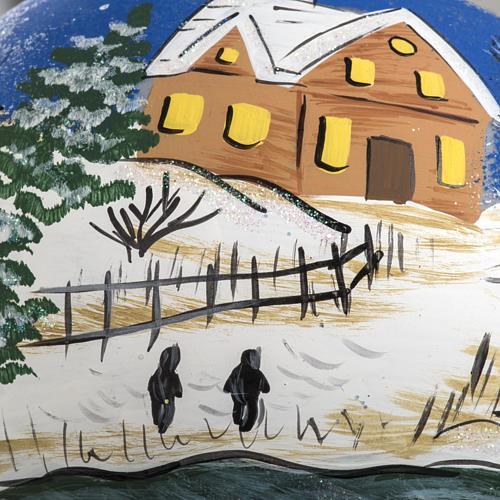 Addobbo albero Natale vetro dipinto a mano 12 cm 3