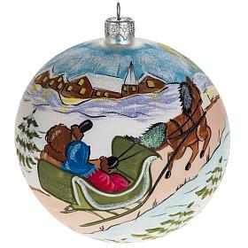 Boule de Noel peinte à la main traîneau 12 cm s1
