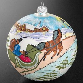 Boule de Noel peinte à la main traîneau 12 cm s2
