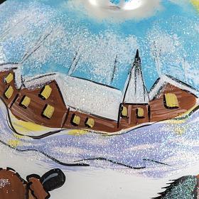 Boule de Noel peinte à la main traîneau 12 cm s4