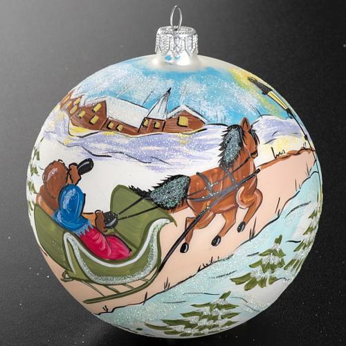 Boule de Noel peinte à la main traîneau 12 cm 2