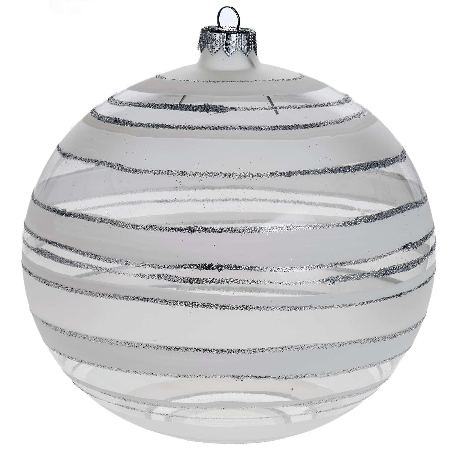Addobbo albero Natale sfera vetro trasparente argento 15 cm 4