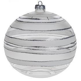 Addobbo albero Natale sfera vetro trasparente argento 15 cm s1