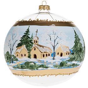 Addobbo albero Natale vetro paese con neve 10 cm s1