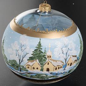 Addobbo albero Natale vetro paese con neve 10 cm s3