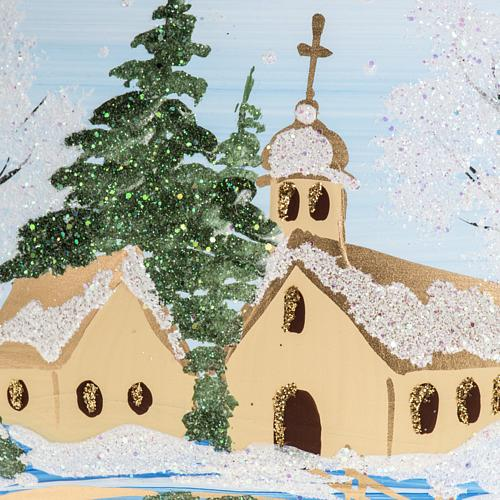 Addobbo albero Natale vetro paese con neve 10 cm 2
