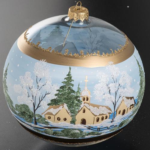 Addobbo albero Natale vetro paese con neve 10 cm 3