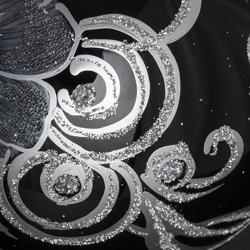 Adorno árbol de Navidad esfera vidrio negro plateado 10 c 5