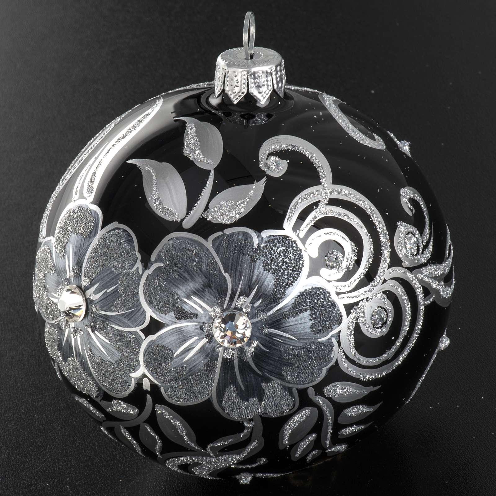 Addobbo albero Natale sfera vetro nero argento 10 cm 4