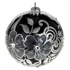 Addobbo albero Natale sfera vetro nero argento 10 cm s1