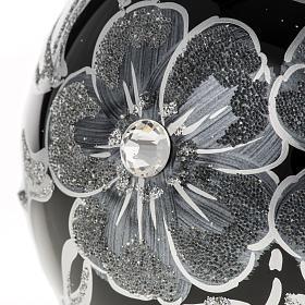 Addobbo albero Natale sfera vetro nero argento 10 cm s2
