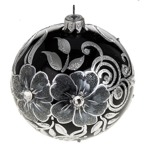 Addobbo albero Natale sfera vetro nero argento 10 cm 1