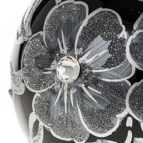 Addobbo albero Natale sfera vetro nero argento 10 cm 2