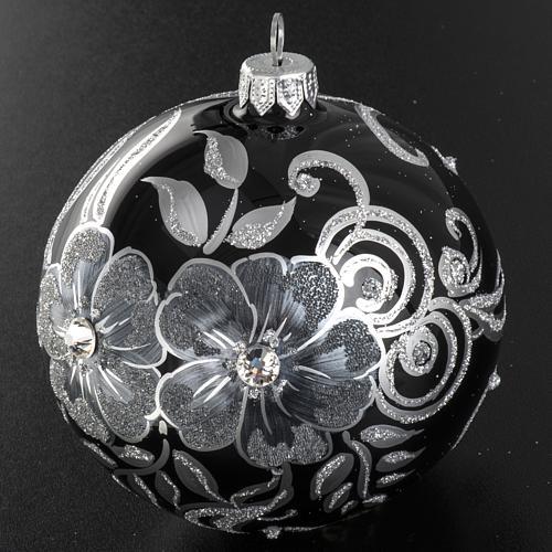 Addobbo albero Natale sfera vetro nero argento 10 cm 3
