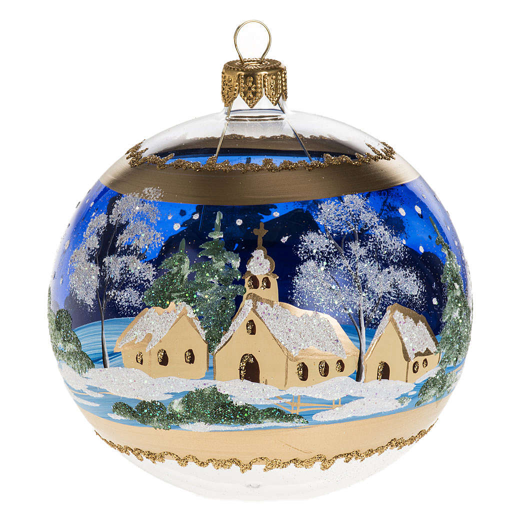 Christmas tree bauble glass blue background, 10cm 4
