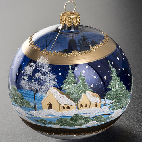 Christmas tree bauble glass blue background, 10cm 5