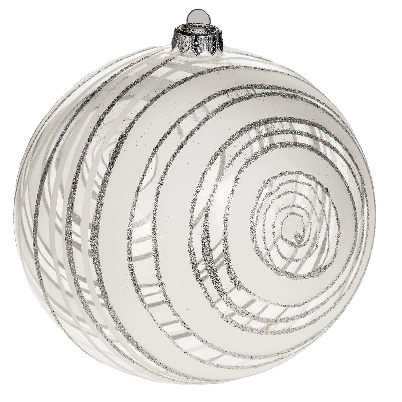 boule de noel verre rayons blancs et glitter 15 cm vente en ligne sur holyart. Black Bedroom Furniture Sets. Home Design Ideas