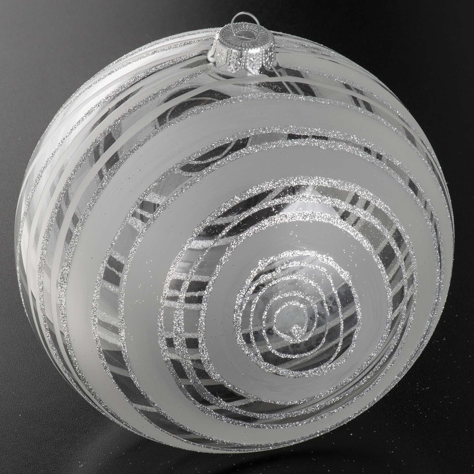 Addobbo albero Natale vetro decori argento 15 cm 4