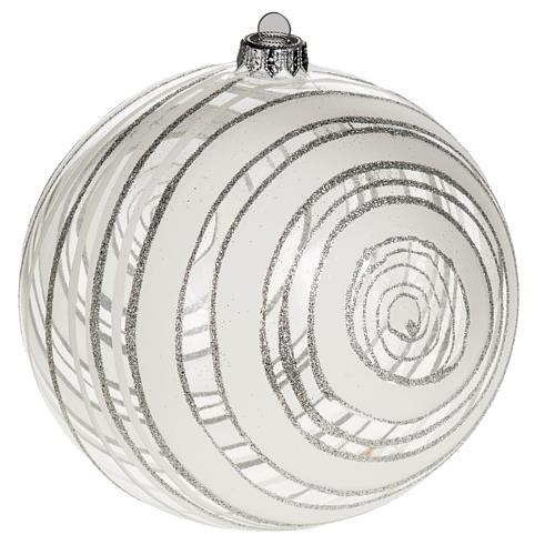 Addobbo albero Natale vetro decori argento 15 cm 1