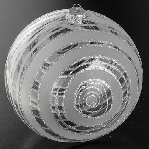 Addobbo albero Natale vetro decori argento 15 cm 2
