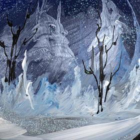 Tannenbaumkugel Glas Nacht Landschaft 15cm s5