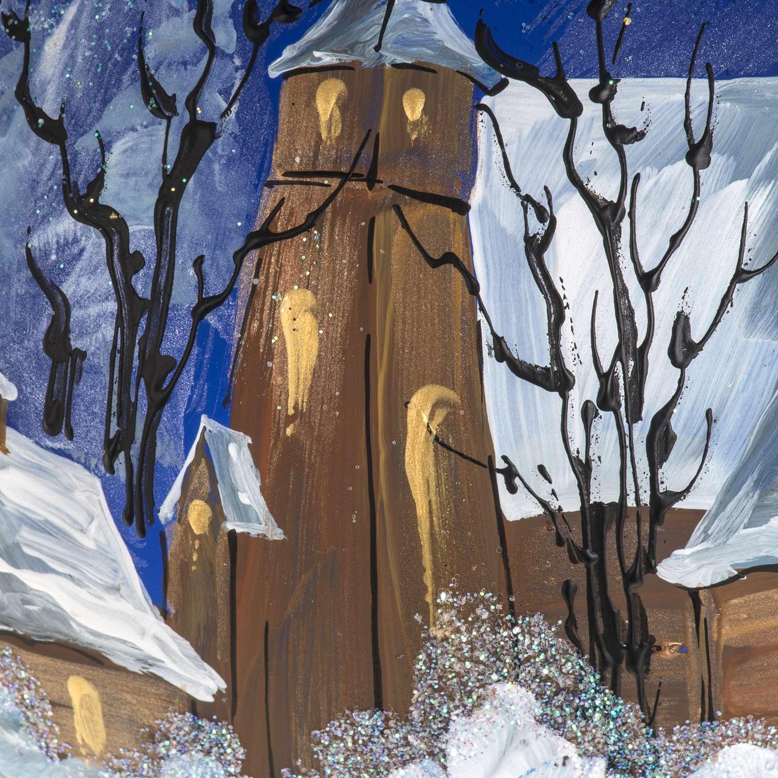Boule de Noel verre bleu maisons enneigées 15 cm 4