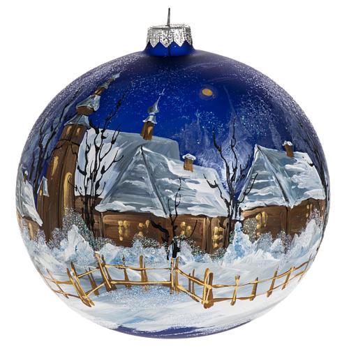 Boule de Noel verre bleu maisons enneigées 15 cm 1
