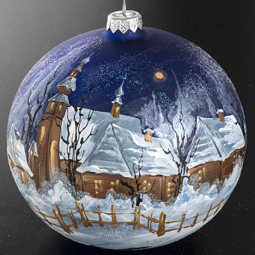 Boule de Noel verre bleu maisons enneigées 15 cm 3