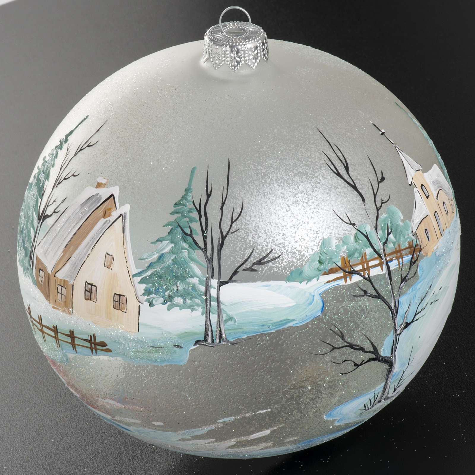 Addobbo albero Natale paesaggio paese 15 cm 4