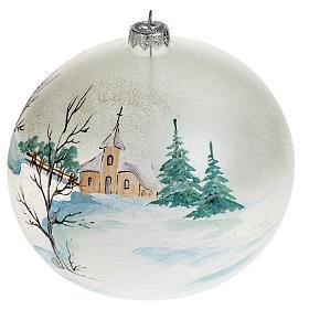 Addobbo albero Natale paesaggio paese 15 cm s1