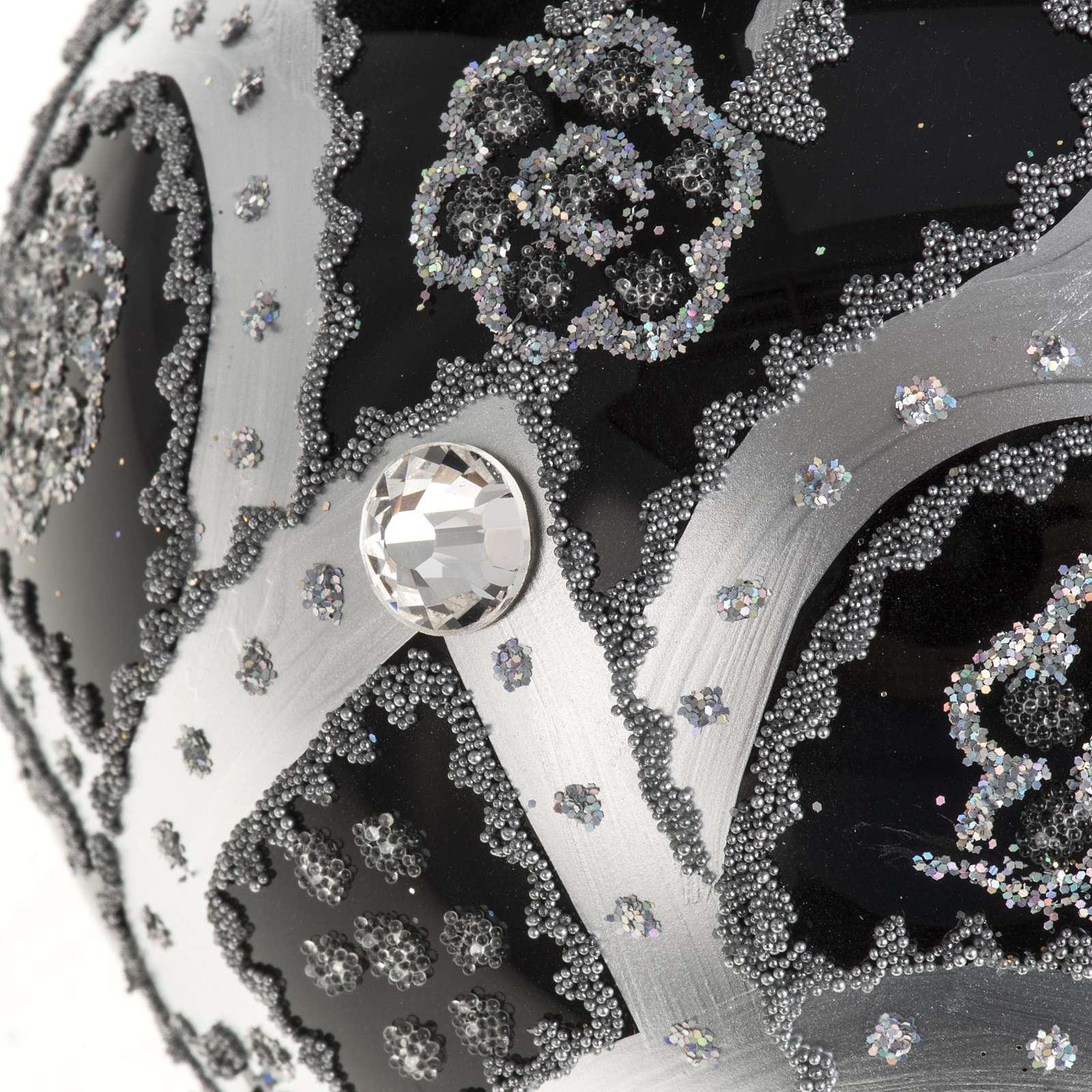 Boule de Noel verre noir peint à la main argent 10 cm 4