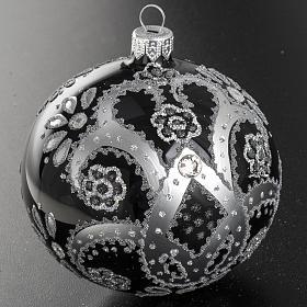Boule de Noel verre noir peint à la main argent 10 cm s3