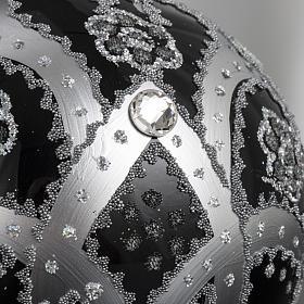 Boule de Noel verre noir peint à la main argent 10 cm s5
