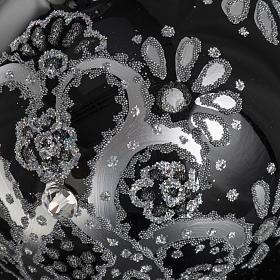 Boule de Noel verre noir peint à la main argent 10 cm s6