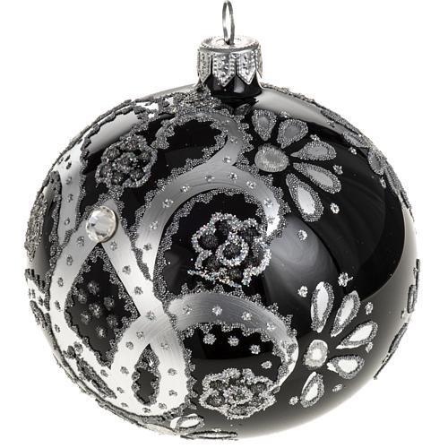 Boule de Noel verre noir peint à la main argent 10 cm 1