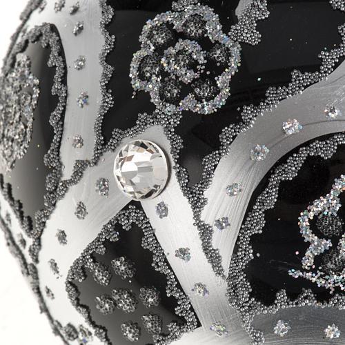Boule de Noel verre noir peint à la main argent 10 cm 2