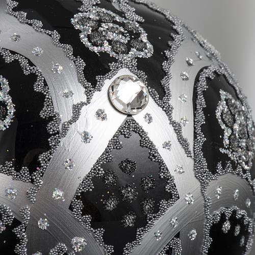 Boule de Noel verre noir peint à la main argent 10 cm 5